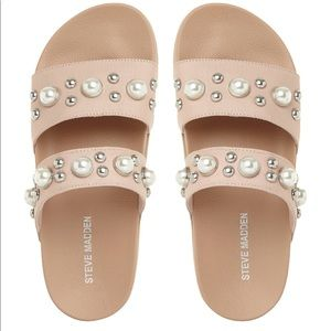 Pearl and Stud Sliders: Steve Madden